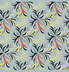 abstract flowers on a gray background seamless vector image