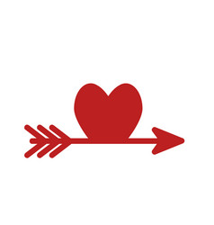 arrow like a red heart love symbol icon stock vector image