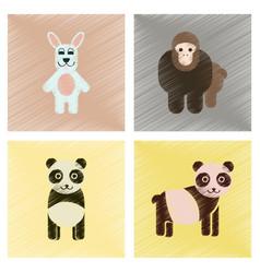 Assembly flat shading style icons panda monkey vector