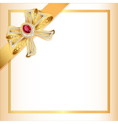 Background with gold ribbon and jewels vector