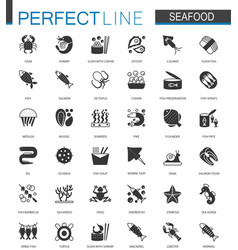 black classic seafood icons set sea food vector image
