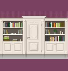 Book wooden cabinet vector
