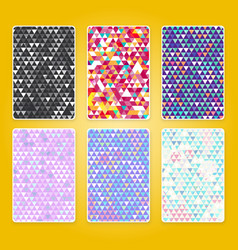 bright triangle pattern set with grunge efect vector image