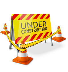 Bright Under Construction sign with orange vector