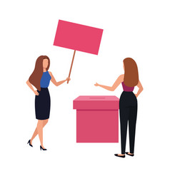 Business women with ballot box isolated icon vector