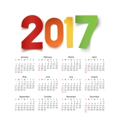 Calendar for a year 2017 vector image
