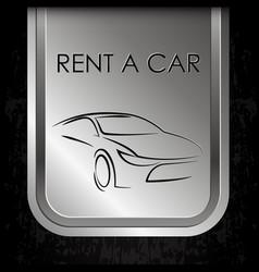 Car rental metal banner vector