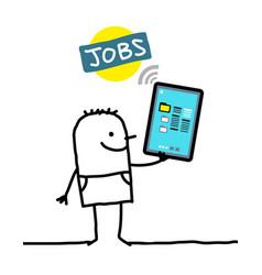 Cartoon character with tablet - jobs vector