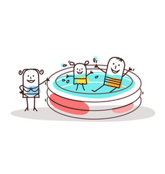 cartoon people having fun in a swimming-pool vector image