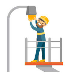 Caucasian electrician changing a broken light bulb vector