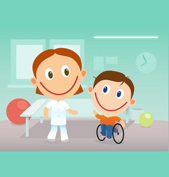 Child in wheelchair in rehabilitation clinic vector