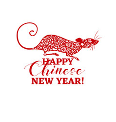 chinese new year rat symbol vector image