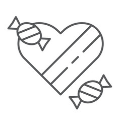 chocolates thin line icon valentines and romantic vector image