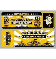 Circus ticket birthday card mockup vector image