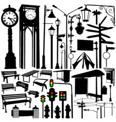 city objects and accessories vector image