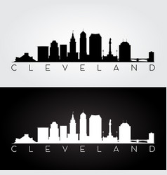 Cleveland usa skyline and landmarks silhouette vector