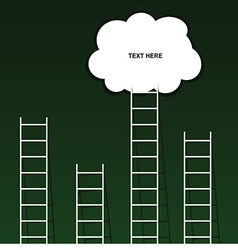 Cloud on ladder set on green background vector