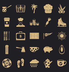 Coffeemania icons set simple style vector