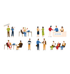 collection of people taking part in recruitment or vector image