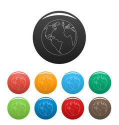continent planet icons set color vector image