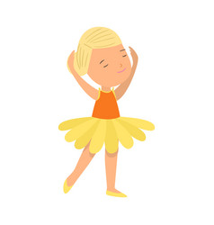 cute smiling blonde hair girl in ballet yellow vector image