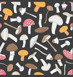 different inedible mushrooms seamless pattern vector image