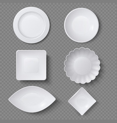 different shapes of realistic food plates dishes vector image