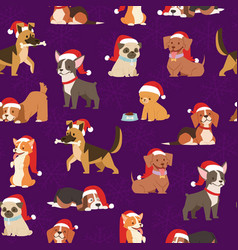 dogs and puppies in santa red caps christmas vector image