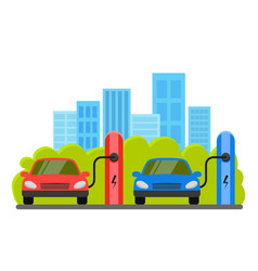 Electric cars at charging station the background vector
