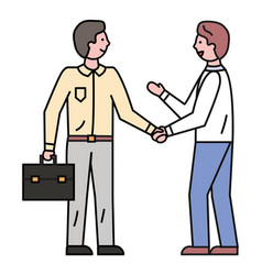 employees shaking hands for successful deal vector image