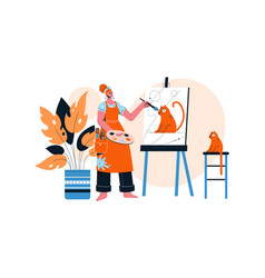 female artist drawing portrait her red cat on vector image