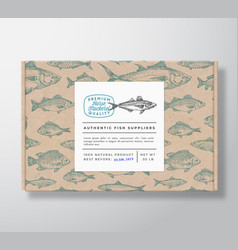 Fish pattern realistic cardboard box with banner vector