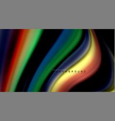 Fluid rainbow colors on black background vector