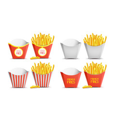 french fries set classic paper bag tasty vector image