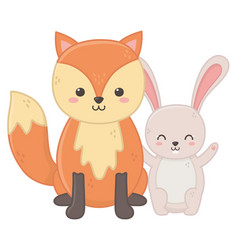 funny little cute fox and rabbit animals vector image