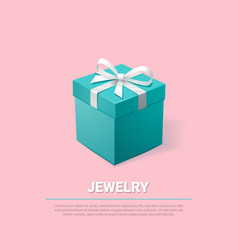 Gift box turquoise jewelry box on pink background vector