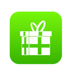gift in a box icon digital green vector image