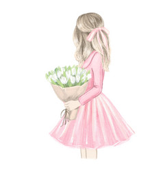 girl in pink clothes with bouquet white tulips vector image