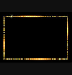 gold frame isolated on black background vector image