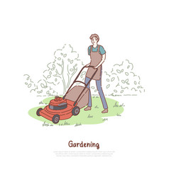 Guy working with lawnmower husbandry grass vector