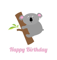 Happy Birthday card with cute koala Baby vector image