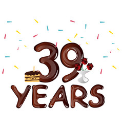 happy birthday thirty nine 39 year vector image