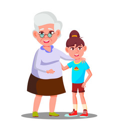 happy grandmother and granddaughter laughing in vector image
