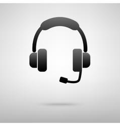 Headset black icon vector image
