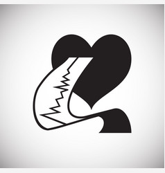 Heart with cardiogram on white backgorund vector