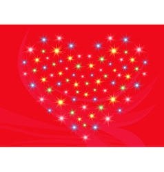 Heart with stars on red background vector