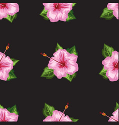 Hibiscus blooming flower seamless with watercolor vector