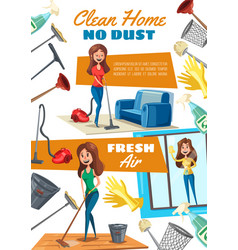 Housekeeping home cleaning and washing windows vector