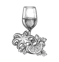 ink sketch wineglass and seafood vector image
