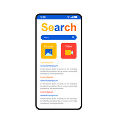 Internet search smartphone interface templat vector